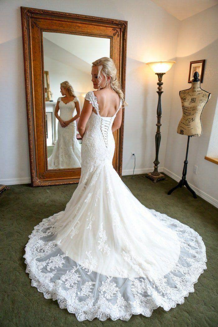 sheath wedding dress lace up back