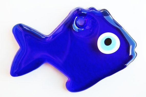 Fish Glass Evil Eye Wall Hanging by TheGrandBazaar on Etsy, $15.00