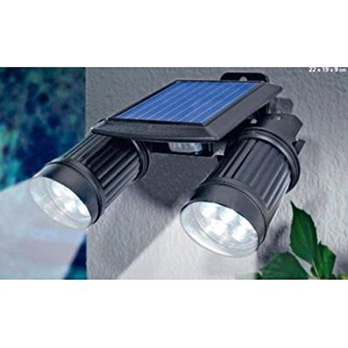 Solar Powered Security Twin Head Super Bright Spot Lights with Motion Detector