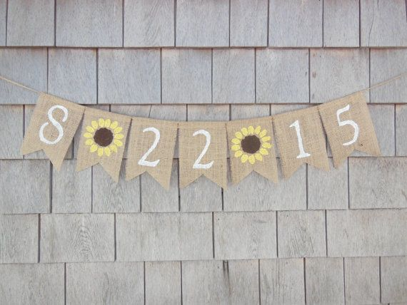 Save the Date Burlap Banner, Sunflower Bridal Shower Decor, Engagment Bunting, Engaged, Photo Prop, Burlap Garland, Rustic, Custom Sign