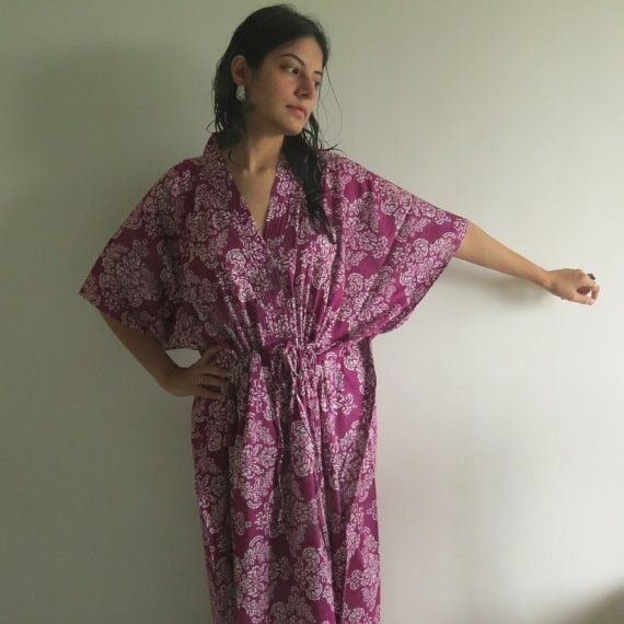 Purple Damask Nursing Maternity Hosptial Gown by silkandmore
