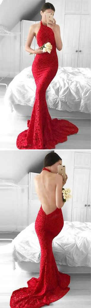 Glamorous Mermaid Red Lace Halter Evening Dress,Backless Sleeveless Prom Dresses UK,#mermaid,#red,#halter,#longpromdressuk,#promdressesuk