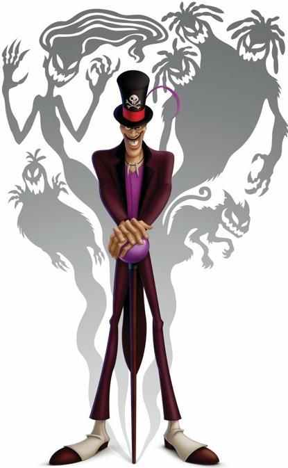 Shadow man is a charter that represents evil and some sort of bad voodoo magic. He just wants the finer things, but he doesn't care how he receives them. All of the shadows behind him represents, that there is more than just one type one personalities one person may have to get what they want.