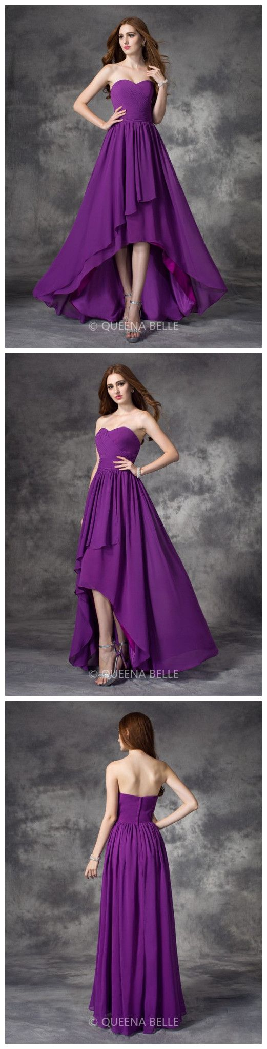 Luxury Purple High Low Bridesmaid Dresses via QueenaBelle! 100% Authentic!