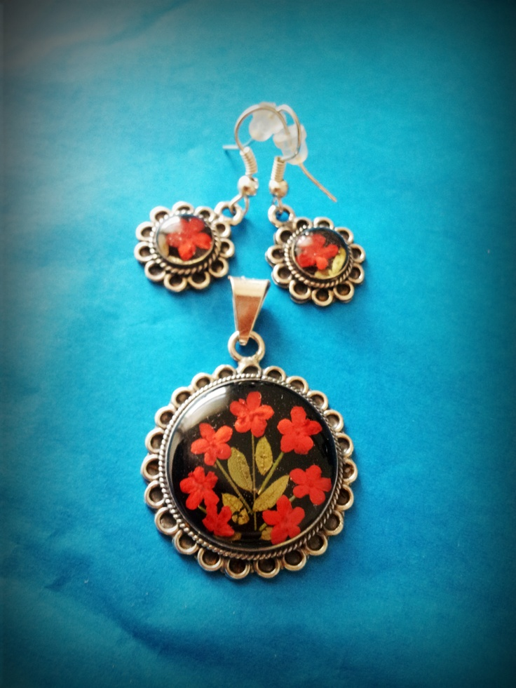 Sterling Silver set, red flowers, Mexican Jewelry,