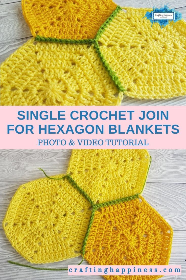Single Crochet Join For Hexagon Blankets in 2020   Crochet ...