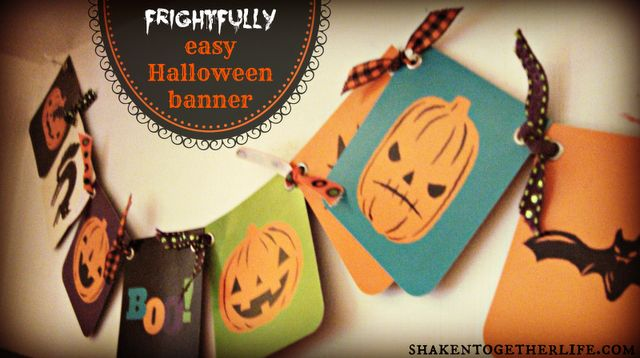 shaken together: {create this} frightfully easy Halloween banner & my Halloween shelf