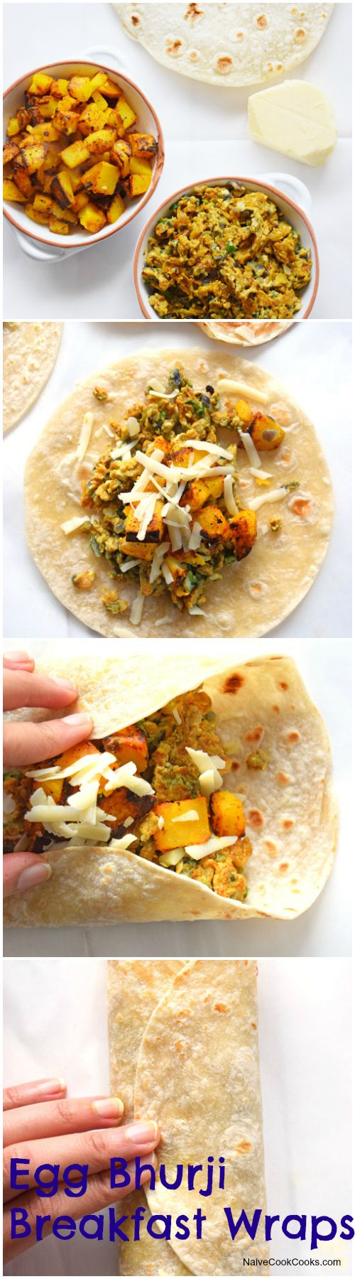 Breakfast wraps with Indian style scrambled eggs, potatoes & cheese.