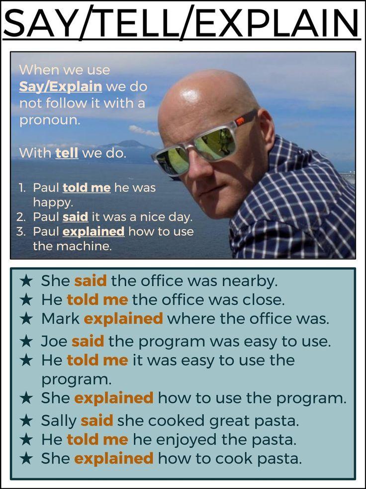 SAY / TELL / EXPLAIN