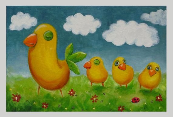 Birdie's Motherhood Mother and her Little Birds by MikiMayoShop
