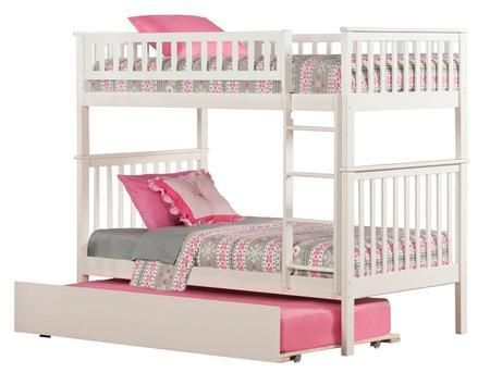 "AB56152 42.5"" Woodland Bunk Bed Twin Over Twin With Urban Trundle Bed In White"