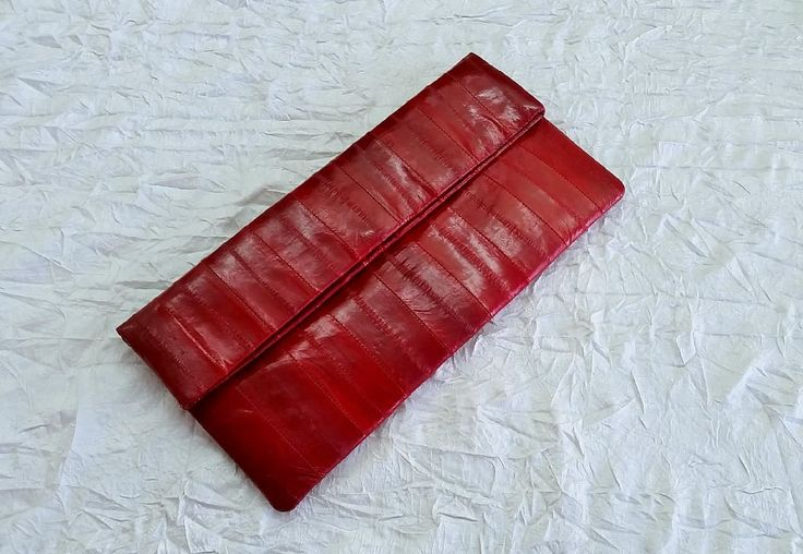 Red Eelskin Foldover Envelope Clutch, Maiden Voyage Australia