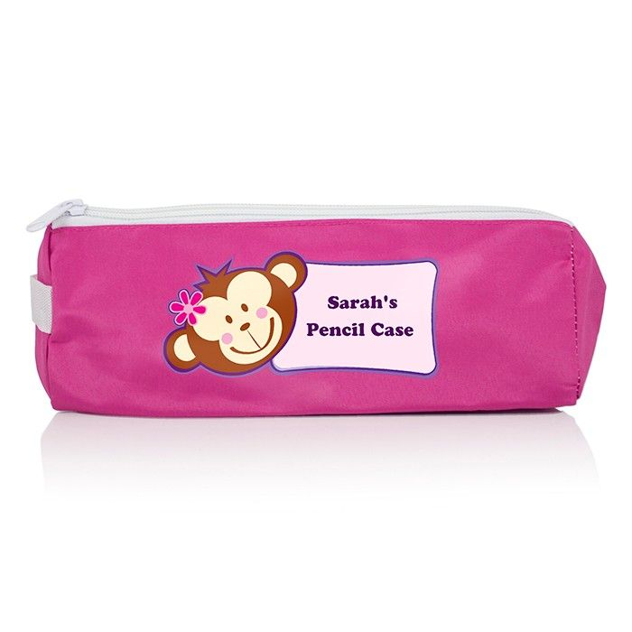 Pink Monkey Girl Pencil Case. Personalise this Pink Monkey Girl Pencil Case with any message over 2 lines up to 15 characters per line. £7.99 Free UK Delivery