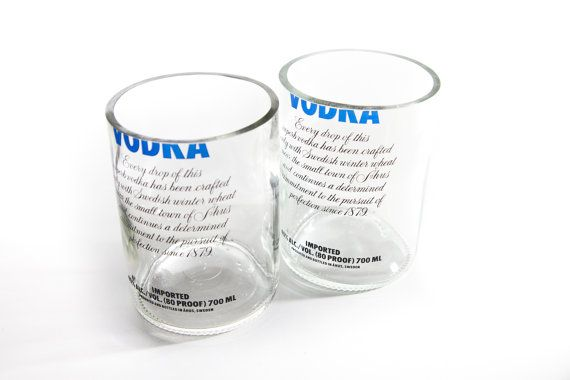 TWICE DRUNK  2x Large Glass Tumblers made from Absolut Vodka bottle, $25.00