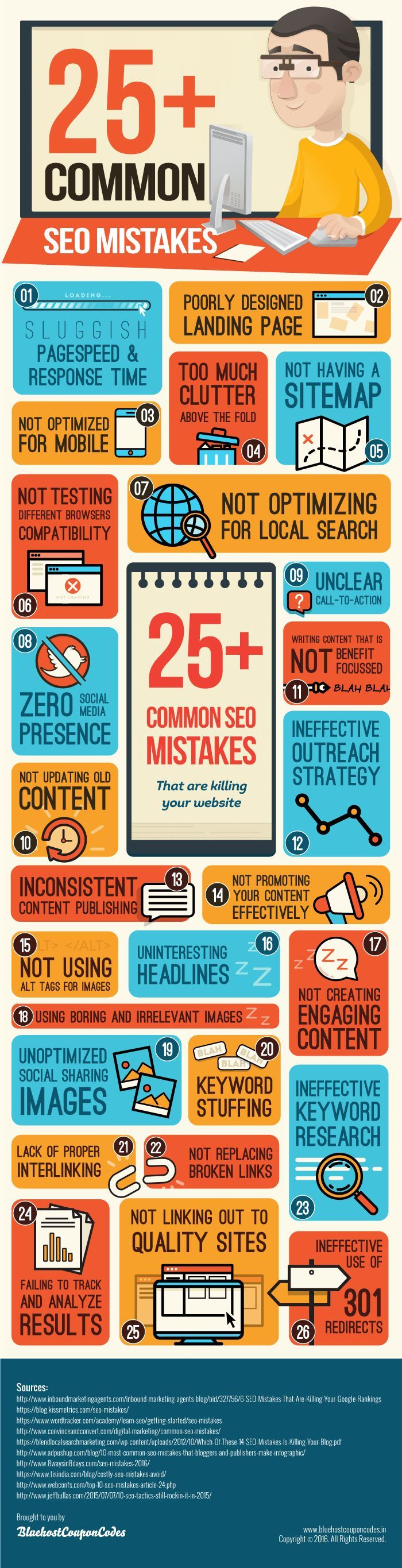 Blogging tips: Are you making common SEO mistakes? Many small businesses are. If so, you're wasting time and money maintaining a website that's not getting traffic. Fix these blunders with the tips on this infographic!