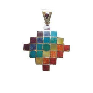 Peruvian Silver and Stone Chakana Twantinsuyu Pendant. I WANT THIS SOOOO BAD.