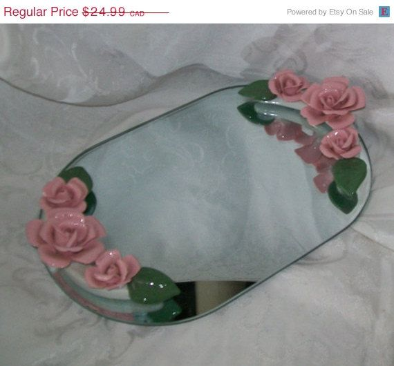 Vintage vanity mirror tray - dresser mirror - porcelain roses - home decor - chic vanity mirror - make-up mirror tray - women's bedroom by newtouvintage. Explore more products on http://newtouvintage.etsy.com