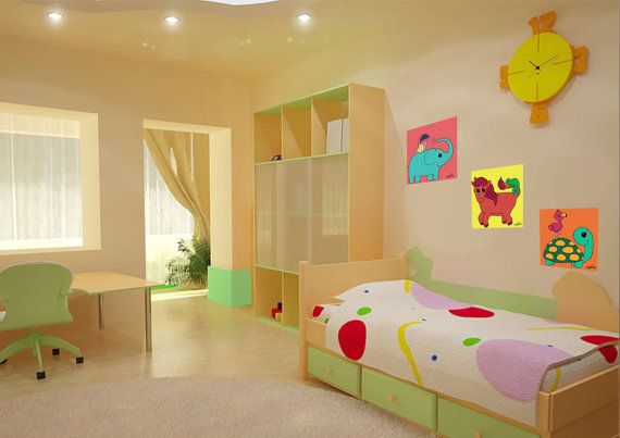 Kids wall art 3 wall decals An elephant horse and a by NilitArt