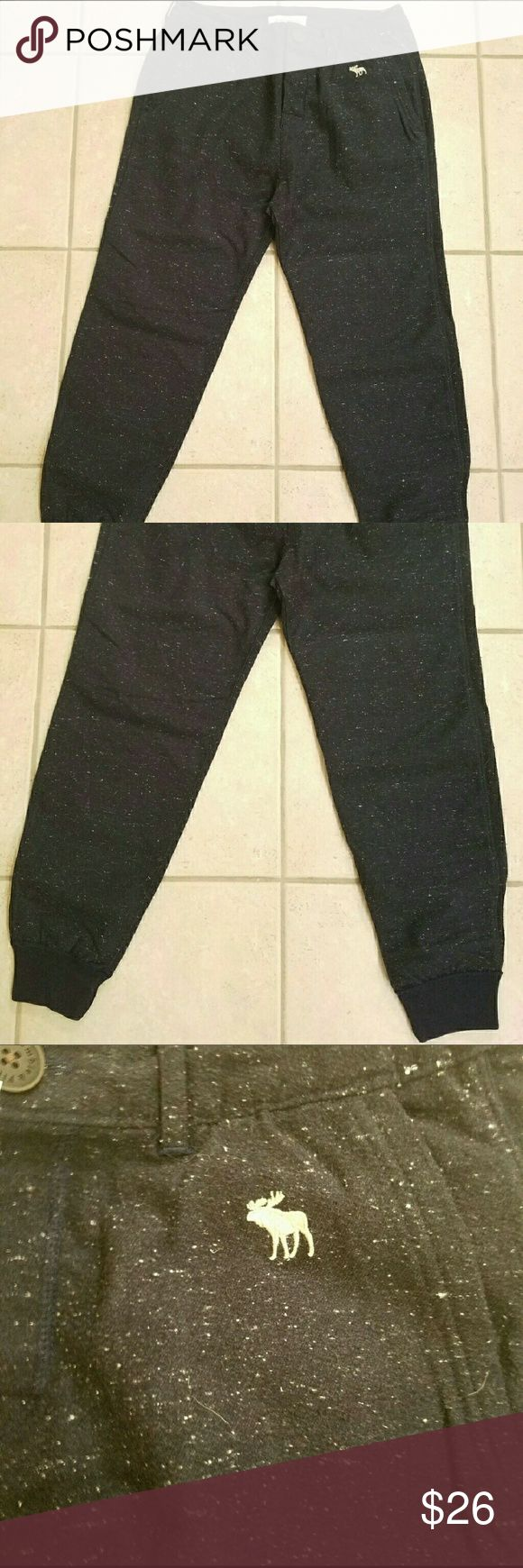 "Abercrombie and Fitch Mens Jogger pants NWT NWT mens joggers-Size Small- dark blue with white specs. These are not sweatpants or jeans, they are a dressier type/material. Measurement: Top of waist to end if cuff/pant is approximately 35"" Abercrombie & Fitch Pants Sweatpants & Joggers"