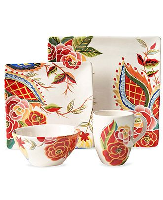 vida by espana dinnerware rose print square 4 piece plate setting casual dinnerware