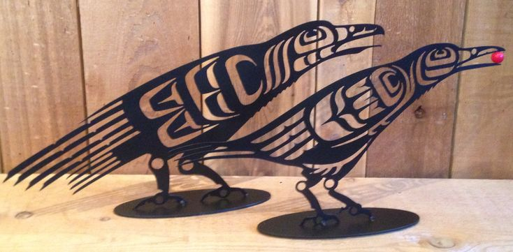 Black Steel Ravens designed by Noel Brown (Coast Salish/Kwakwaka'wakw). Cut out design in unique and are great decor inside and out.