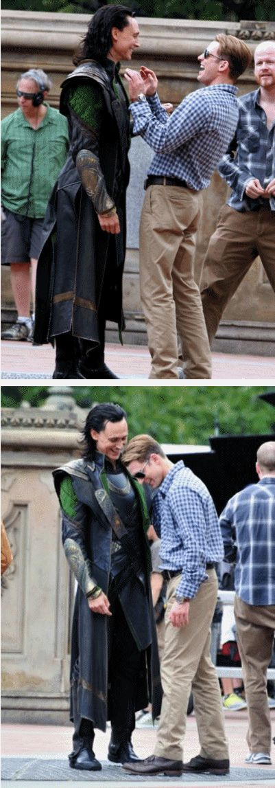 The Avengers, Tom Hiddleston & Chris Evans ..Joss back there :-) http://pinterest.com/yankeelisa/marvel-s-the-avengers/