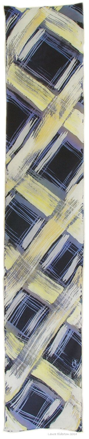 Hand Dyed Silk Scarf Weave in Tones of White Gray Blue