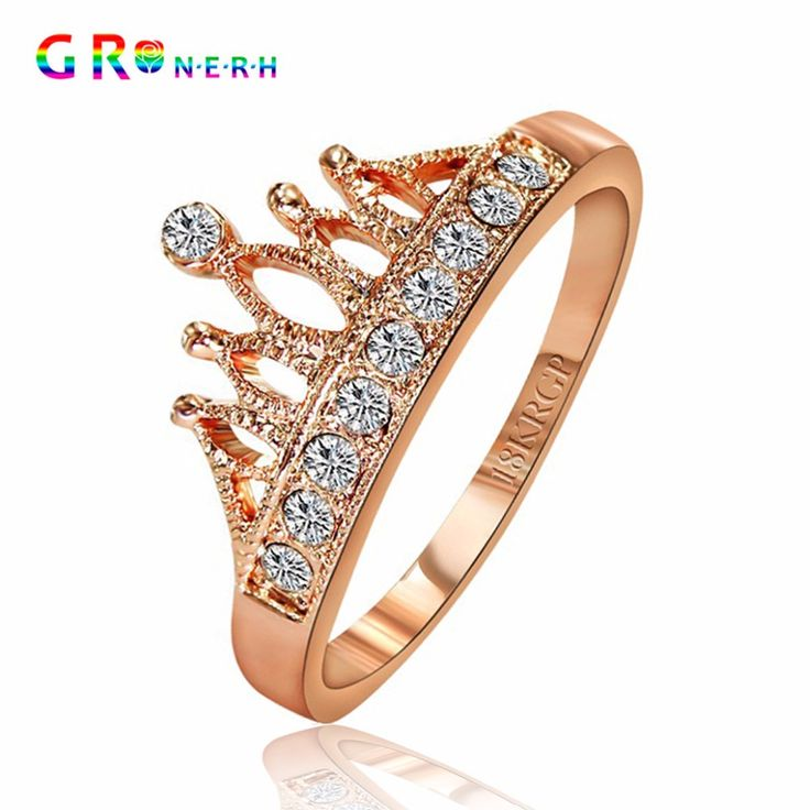 GR. NERH Top Vendita di Alta Qualità Placcato Oro Principessa Corona 10 PZ Zircone Anello Anelli di Nozze Per Le Donne