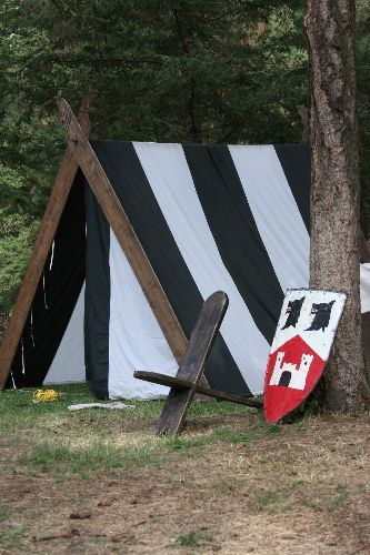 You've gotta love a pretty little Viking style A-frame. They easier than other period tents and they'll fit in a sedan. No need for a giant truck.