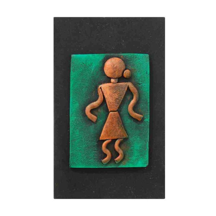 Warli Art Wall Piece - Orange and Green