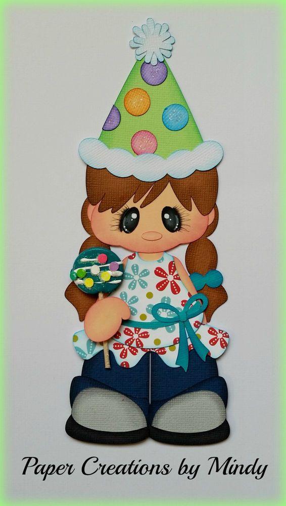lollipop girl kids birthday premade paper piecing scrapbooking card