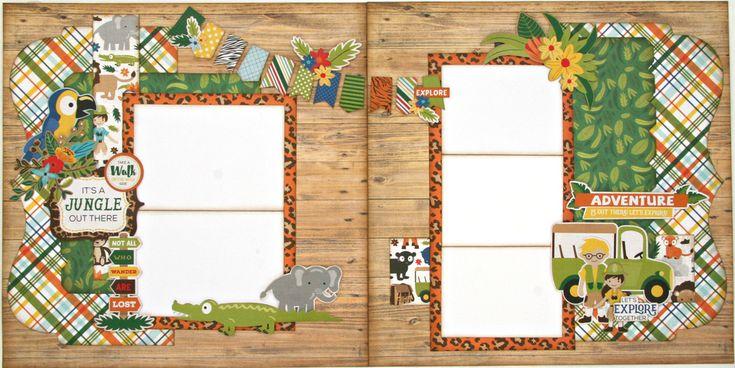 It's a Jungle Two Page Layout Kit. •Echo Park Jungle Safari pattern paper