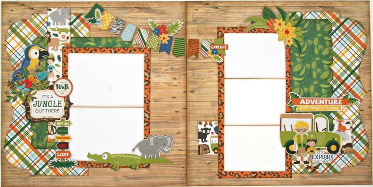 It's a Jungle Two Page Layout Kit. •Echo Park Jungle Safari pattern paper