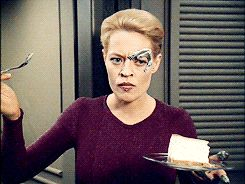 Star Trek Seven of Nine (when taken over by the Doctor's program) experiences cake for the first time.