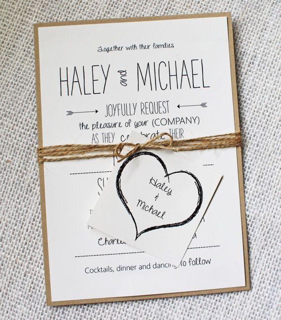 Rustic Wedding Invitation, Invitation Sample. Modern, Rustic Chic Wedding…
