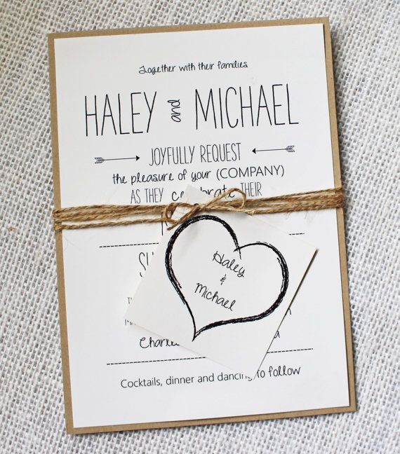Rustic Wedding Invitation, Invitation Sample. Modern, Rustic Chic Wedding…