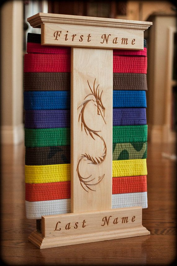 Personalized Karate Belt Display Dragon Engraved(Maple) Way more than I want to spend, but beautiful