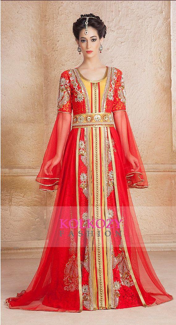 Contemporary Red Moroccan Kaftan Dress Fancy by KolkozyShop