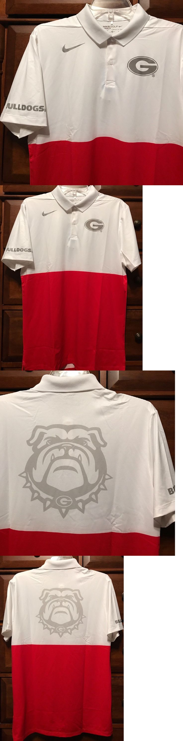 College-NCAA 24541: New $85 Georgia Bulldogs Men S Nike Golf Polo Dress Shirt Dri-Fit White Red -> BUY IT NOW ONLY: $34.99 on eBay!