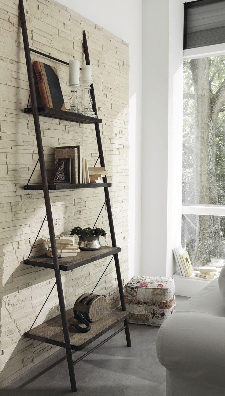 Ladder shelf with chains