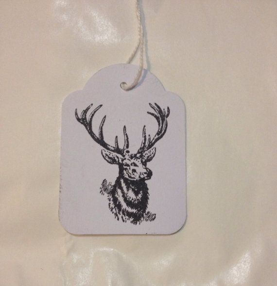 Bulk lot of 100 Hand Stamped Quirky Black Deer Tags by TypeWright