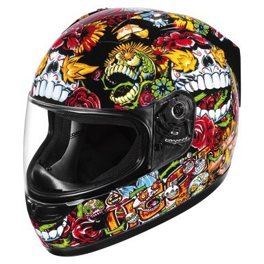 Icon Alliance SSR Dia De Los Muertos Full Face Helmet - Black- just needs a unicorn