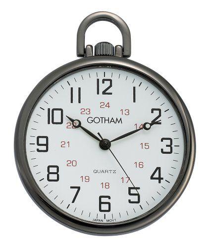 #vintagepocketwatches Gotham Men's Gun Metal Ultra Thin Railroad Open Face Quartz Pocket Watch # GWC15026B Check https://www.carrywatches.com