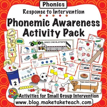 The activities contained within the Make, Take & Teach Phonemic Awareness Activity Pack are ideal for small group intervention. This activity pack contains 16 of our most popular phonemic awareness activities!  Hands on activities using colorful and engaging pictures make this a favorite for both teachers and students.