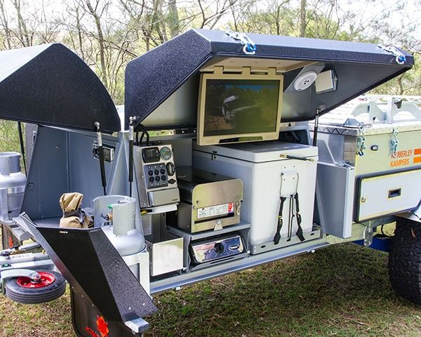 offroad camper trailer with flip-down DVD screen large... Cause everyone needs to watch TV in the wilderness?