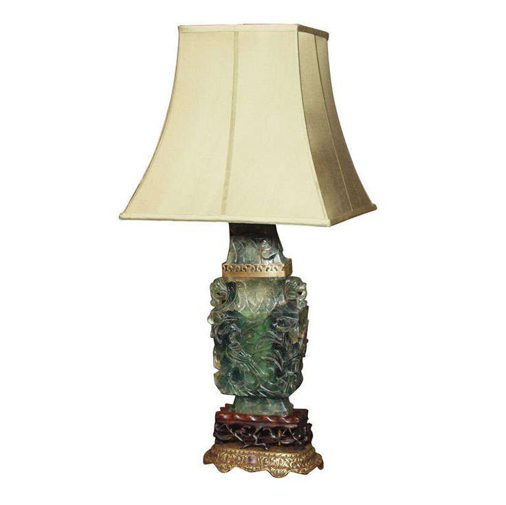 Antique chinese jade quartz lamp