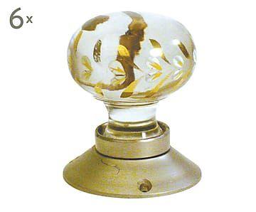 Set de 6 pomos de puerta de cristal y metal, dorado - Ø6 cm