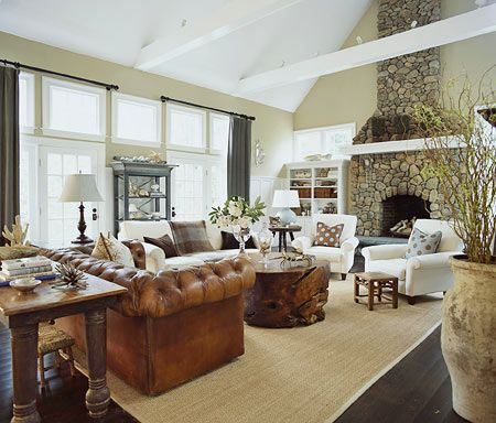 Casual living room with stone fireplace