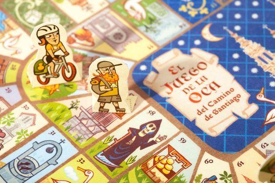 Detalle del tablero del juego de la oca del Camino de Santiago.