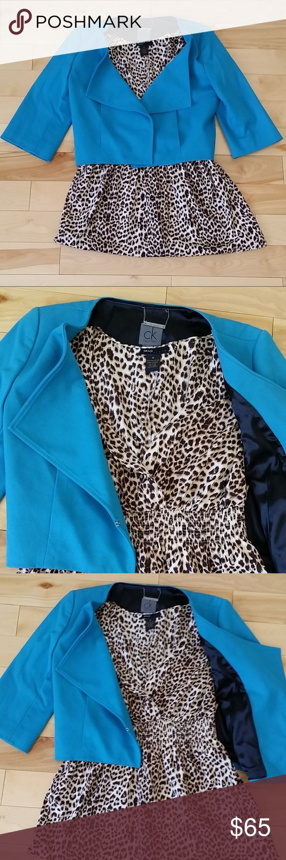 CALVIN KLEIN BLUE BLAZER WOMENS Bundle outfit.  Calvin Klein blazer jacket in size XS and leopard blouse.   The leopard blouse - Grace elements is in size M.  Both are in great condition. Calvin Klein Jackets & Coats Blazers